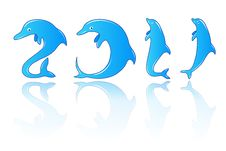 New Year With Dolphins Numbers Royalty Free Stock Photography