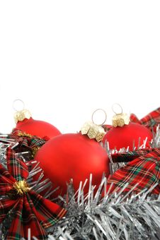 Free Three Red Christmas Balls On White Background Royalty Free Stock Photo - 16651205