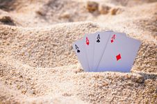 Free Aces In The Sand Royalty Free Stock Photo - 16651295