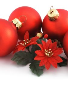 Four Red Christmas Balls Stock Images