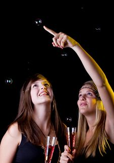 Free Two Young Party Girls Stock Images - 16651844