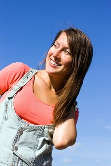 Free Beautiful Young Woman Under Blue Sky. Portrait Royalty Free Stock Photography - 16651957