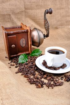 Vintage Coffee Grinder And Coffe Plant In Granules Stock Image