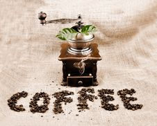Free Vintage Coffee Grinder And Sign Stock Photo - 16652060