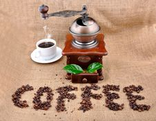 Free Vintage Coffee Grinder And Sign Royalty Free Stock Image - 16652066