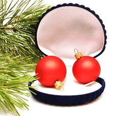 Christmas Balls In Small Box For A Gift Royalty Free Stock Photos