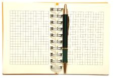 Open Spiral Bound Notebook With Pen Royalty Free Stock Images