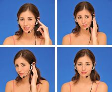 Beautiful Woman And Headset Stock Images