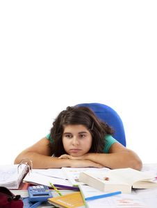 Free Bored Girl With A Lot Of Homework Stock Photography - 16654142