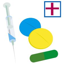 Free Tablets And Syringe Royalty Free Stock Image - 16654366