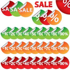 Bright Sale Stickers. Vector Royalty Free Stock Photography