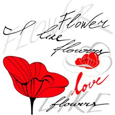 Free Red Flower With Inscription Stock Photography - 16656092
