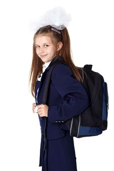 Free Schoogirl With Backpack Stock Photo - 16656310