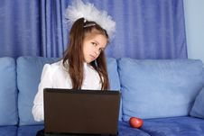 Free Girl With Laptop And Red Apple Stock Photos - 16656633
