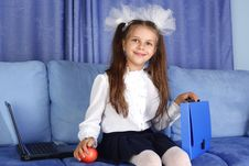 Free Schoolgirl Girl With Laptop, Backpack Royalty Free Stock Photos - 16656698