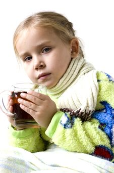 Free Child Is Ill With Cup Of Tea Royalty Free Stock Images - 16657139