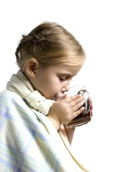 Free Child Is Ill With Cup Of Tea Royalty Free Stock Photos - 16657178