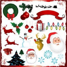 Free Christmas Decorative Elements Collection Royalty Free Stock Photos - 16657268