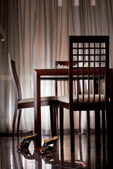 Modern Table And Chairs In The Kitchen Royalty Free Stock Image