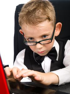 Free Kid In Glasses And Laptop Royalty Free Stock Images - 16659779