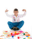 Free Adorable 3 Year Old Boy Covered In Paint Stock Photography - 16660632