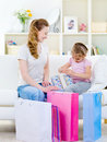 Free Mother With Daughter Openning Gift Stock Photo - 16664380