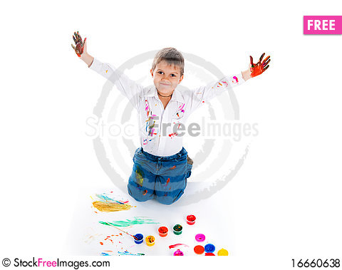 Free Little Boy Covered In Bright Paint Royalty Free Stock Photos - 16660638