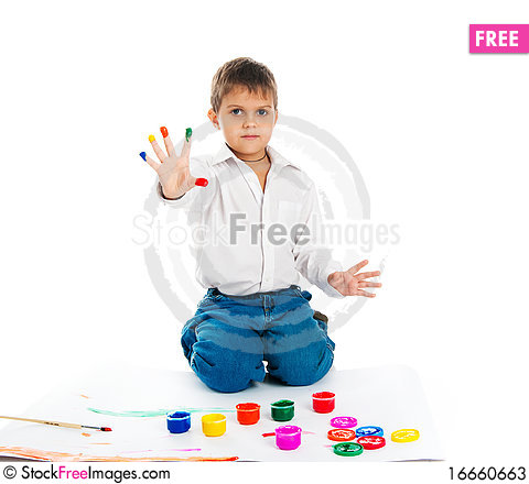 Free Little Boy Covered In A Paint Stock Photos - 16660663
