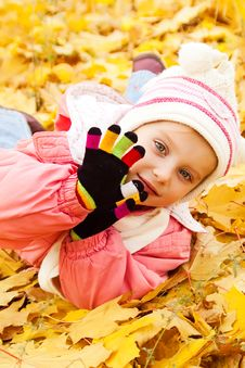Free Autumn Portrait Of Cute Little  Girl Stock Image - 16660411