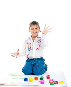 Free Little Boy Covered In  Paint Stock Photos - 16660573