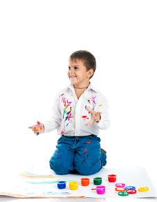 Free Little Boy Covered In Paint Stock Photo - 16660650