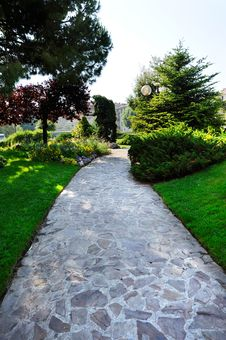 Garden Stone Path At The Park Stock Photography