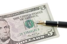 Dollar Banknotes And Pen Royalty Free Stock Photography