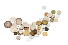 Old Coins Isolated On White Background Stock Photos