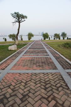 Red Stone Path At The Park Of Modern China Royalty Free Stock Photos