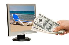 Free Hand With Money And The Monitor Royalty Free Stock Photo - 16664685