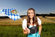 Free Beautiful Bavarian Girl With A Flag Stock Image - 16666321