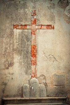 Free The Red Sign Of The Cross On The Wall. Stock Photo - 16666630