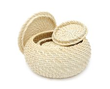 Set Of Wicker Boxes Stock Photos