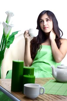 Free Beautiful Woman  In Cafe Stock Photography - 16666842