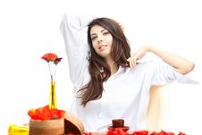 Free Beautiful Woman  In Cafe Royalty Free Stock Photography - 16666877