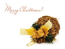 Free Golden Christmas Ball Made Of Willow On The White Stock Photos - 16666883