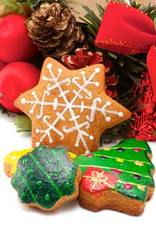 Assorted Cookies And Christmas Wreath Royalty Free Stock Photo