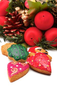 Christmas Wreath. Cookies Royalty Free Stock Photo