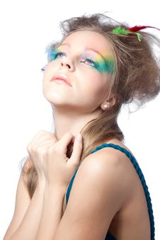 Free Beautiful Woman  With Color Makeup Stock Image - 16667091