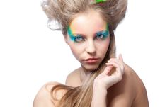 Free Beautiful Woman  With Color Makeup Stock Image - 16667101