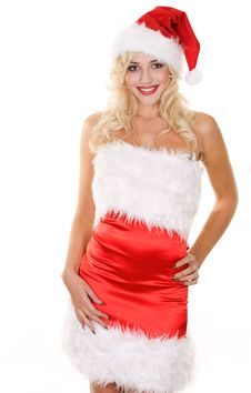 Free Beauty Blonde Girl In Santa Hat Stock Image - 16668051