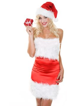 Beauty Blonde Girl In Santa Hat With Gift Royalty Free Stock Image