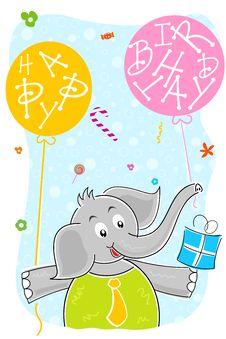 Free Elephant With Birthday Balloon And Gift Royalty Free Stock Photos - 16668918