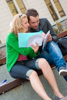 A Couple Of Students Studying Stock Image